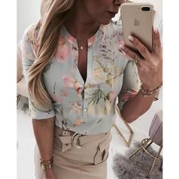 Blusas planas on-line-Mulheres Longo Meia Manga Solta Camisas Camisa OL Roupas Planície Casual Botão Blusa Senhora Do Escritório de Verão Chiffon Camisas