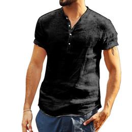 pantaloncini bianchi bianchi per gli uomini Sconti T-shirt Uomo Cotone Lino soid colori manica corta Retro Solid Camicie Nero Bianco T Top camicetta