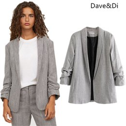 c25764a358893 Dave Di 2018 feminino Casual blazers pleated open stitch solid notched  england style blazers women Suit jacket plus size 1126
