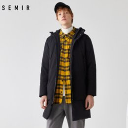 Semir lungo addensare Uomini Down Jacket 80% Anatra Young Winter frangivento Uomini New Hooded Warm Winter Jacket Normale Comfort Coat