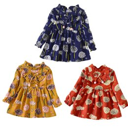 Largos vestidos de niña de flores impresas online-Vestido de niña de manga larga con estampado floral de flores para niñas pequeñas Ropa infantil para niñas Vestidos infantiles