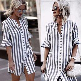 zuhair murad abito bianco nero Sconti Vestito a strisce da donna 2019 Autunno manica lunga bottoni Split Maxi lunghi abiti da donna Casual Plus Size Vestidos