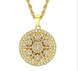 sunflower diamond Promo Codes - European and American fashion trend hip-hop sunflower Pendant with drill and sunflower Pendant Men's Necklace Pendant Chaobai hip-hop jewelr