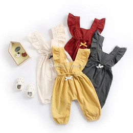 7d5931ad67fce Baby girls ruffle Flying sleeve Bib pants infant Jumpsuits 2019 summer  fashion strap pant Boutique Suspender pant kids clothes C5952
