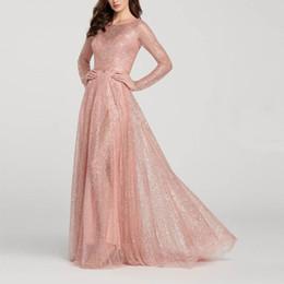heiße strumpfmodelle Rabatt Auf Lager Hot 2019 europäischen neuen Stil Damen Kleid / Explosion Modelle Brautjungfer Rundhalsausschnitt Langarm dünnes Pailletten Abendkleid