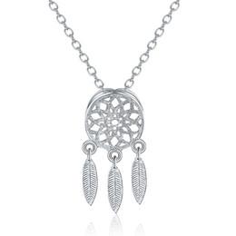 2019 pendientes de plata de ley Lujo 925 juegos de joyas de plata esterlina Dream Catchers pluma colgante collar stud set set para las mujeres damas joyería de moda rebajas pendientes de plata de ley