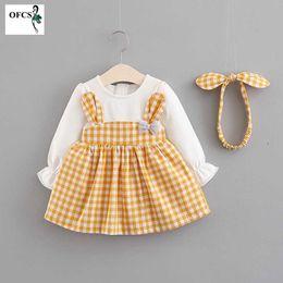 hinzufügen von ärmeln kleid Rabatt Frühling Baby Langarm Geburtstag Kleider für Neugeborene Kinder Mädchen Kleidung Casual Grid Prinzessin Partykleid Add send Stirnband