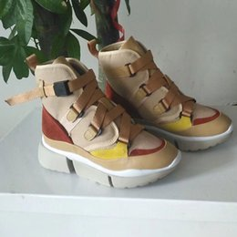 High heel canvas sneaker online-2019 Designer Brand Womens Ladies Mid Heels Sports Shoes Trainers Girls Buckle Strap High Tops Canvas Leather Sneakers Luxury Shoes