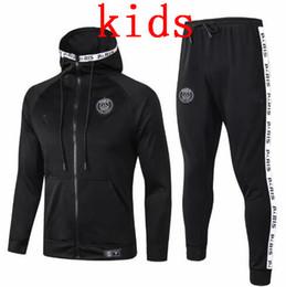 2020 hoodies noirs pour les enfants ENFANTS noir veste de football sweat à capuche Paris 2019/20 Survêtement Veste de football MBAPPE Survêtement Jordam sweat à capuche X hoodies noirs pour les enfants pas cher