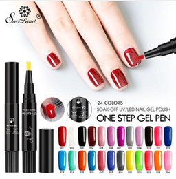 Base un gel online-Commercio all'ingrosso Saviland 3 in 1 Un passo del gel del chiodo polacco di chiodo di 60 colori della penna non hanno bisogno di Base Top Coat
