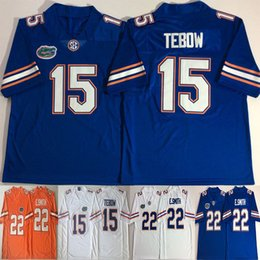 Tebow трикотажных изделий онлайн-NACC 15 Tim Tebow Jerseys 22 E. Smith Emmitt Smith 2018 College Florida Gators легендарная футбольная команда цвет синий белый оранжевый Джерси