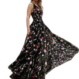 Elegante sexy vestidos de festa on-line-Das mulheres Sexy Preto Vestidos Florais Moda Senhoras Elegantes de Cintura Alta-A-Line Plissada Maxi Evening Party Prom Dress