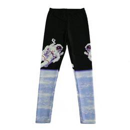 2019 pantalón estampado digital DOUBCHOW Mujeres Astronauta Digital Imprimir Leggings Pantalones Maiden Spandex Brillantes Leggings elásticos Disfraz Flaco Sin pies más tamaño pantalón estampado digital baratos