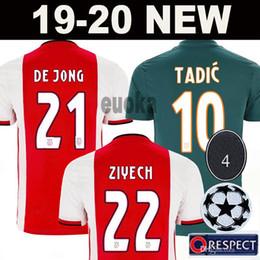 Camisetas de uniforme online-2019 AJAX camiseta de fútbol de local # 21 DE JONG camiseta de visitante ajax 19/20 # 10 TADIC # 4 DE LIGT # 22 ZIYECH Uniformes de fútbol masculino