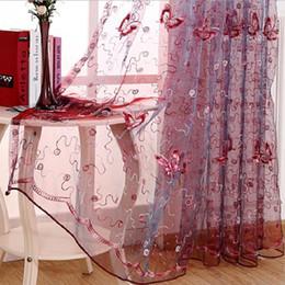 cortinas de quarto roxas Desconto Romântico bordado Modern lantejoulas borboleta Rústico Sheer Curtains Voile para sala de estar Quarto Cozinha Roxo Cortinas