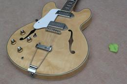 guitare électrique semi-creuse jazz Promotion Personnalisé John Lennon Revolution Casino Natrual Terminé ES Jazz Guitare Électrique Semi Creux Corps Double F Trou Métal Cordier Top Vente