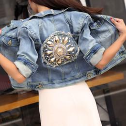 Strass perline Indietro Jean Jacket 2018 Autunno mezza manica sfilacciata lavaggio Jean Denim cappotti monopetto Button Donna Giacche