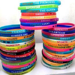 para sempre esportes Desconto Atacado 50 Pcs para sempre stretch pulseiras de silicone esporte princesa amizade pulseira jóias favores do partido presentes meninas mulheres queen bands