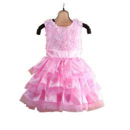 Blusa sin mangas rosa online-Moda bebé niña vestido de verano flor rosa recién nacido ropa Jumpers Hairband 2 unids traje niñas blusas vestido de bola tutu vestidos suaves