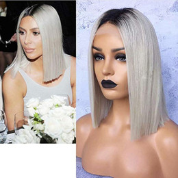 dark roots short wig Coupons - Fashion Dark Roots Ombre Grey Color Short Bob Cut Wigs Glueless Synthetic Lace Front Wigs for Women Middle Part Straight Hair Heat Resistant