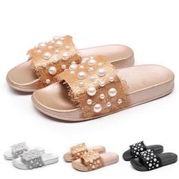 2019 scarpe da sole morbide nere sandali donna perla Pantofola Casual Scarpe sliver nere Scivoli antiscivolo Bagno Sandali estivi da spiaggia Soft Sandali infradito in pizzo scarpe da sole morbide nere economici