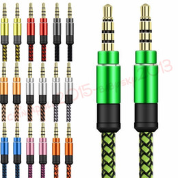 Wholesale Cable auxiliar de audio auxiliar de mm Cable metálico de metal ininterrumpido Braiede Cable estéreo macho M M para iphone Samsung MP3 Altavoz Tablet PC