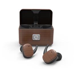 madera para deportes Rebajas TWS Auriculares inalámbricos Bluetooth 5.0 Auriculares deportivos de grano de madera A prueba de sudor Auriculares de carga inalámbrica Auriculares adecuados para teléfonos Samsung Huawei