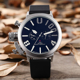 Relógio automático de cavalheiro on-line-Luxo novo esporte clássico dos homens de borracha preta tipo U automático gancho esquerdo relógio de pulso grande relógio de 50 milímetros do cavalheiro do navio