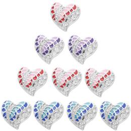 Deutschland New Snaps Schmuck Love Heart 18mm Strass Metall Druckknöpfe DIY Charms Button Armband Halskette Jewerly zum Valentinstag cheap metal heart button bracelet Versorgung