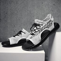malla de encaje hasta zapato de playa Rebajas Incendios Verano Hombres Sandalias de malla Zapatos de playa casuales al aire libre Zapatos planos ligeros y transpirables masculinos Sandalias cómodas de calidad con cordones