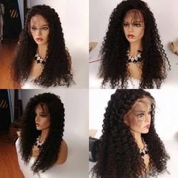 Длинный черный парик толщиной онлайн-Естественный волосяной покров полный парики шнурка вьющиеся длинные девственные человеческие волосы толстые отбеленные узлы парик фронта шнурка для чернокожих женщин