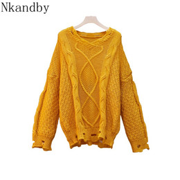 mohair crochet Promo Codes - Nkandby Plus Size V Neck Kawaii Mohair Sweaters Women Autumn Loose Crocheted Hole Knit Tops Sweater Oversize Ladies Jumpers 4xl