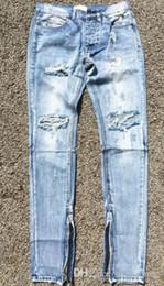 2019 jeans besten mann Angst vor dem FOG Männern Selvedge Reißverschluss Gott zerstörte dünn fit justin bieber Jahrgang blauen Jeans Wholesale-Top-Version riss günstig jeans besten mann