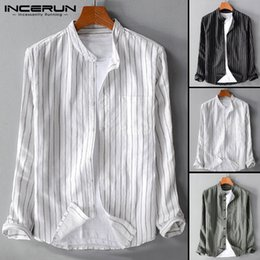 schlichte hemdbluse Rabatt Chinesischen Stil Gestreiften Casual Shirts Männer Shirts Langarm Plain Lose Sozialkleid T Bluse Mode Männlichen Tops Camisa Chemise