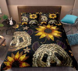 Quilt setzt gelb online-Retro Panda Bettwäsche Yellow Sun Flower Bettbezug Bettwäscheset Heimtextilien Schwarz Bettwäscheset King Size 3-tlg