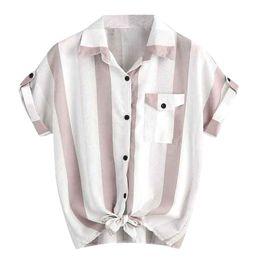 Блузки с коротким рукавом онлайн-Women's blouses Stripe Short Sleeve Summer Fashion New Loose casual Tops female pocket turn dowan collar blusas de mujer verano