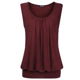 Майка широкая шея онлайн-Women Casual Crew Neck Sleeveless Wide Straps T-shirt Elastic Waist Pullover Cute Tops L-3XL