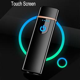 Argentina Nuevos delgada de carga USB encendedores de cigarrillos electrónicos más ligero de la pantalla táctil pequeña recargable encendedor eléctrico a prueba de viento regalo de los hombres Suministro