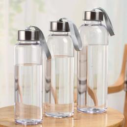 agitador de proteínas botella deportes directo Rebajas Botella de agua de cristal de 300 ml 400 ml 600 ml deportes al aire libre plástico transparente recto Ronda a prueba de fugas de viajes de transporte para la botella de agua Vasos