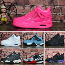 Детская обувь кошка онлайн-Nike Air Jordan 4 Мужские J 4 Jumpman баскетбольные кроссовки 4S Black Cat Джинсовая Лазерная Резинка Air Flight Ретро J4 Мальчики Дети кроссовки размер 28-35