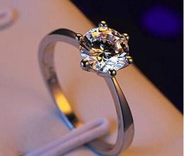 Fabricants d'argent en Ligne-Fabricant en gros six griffe argent or blanc diamant bague Autriche zircon anneau cadeau de Noël pour les femmes bijoux de mariage bagues