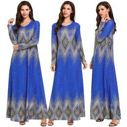 vestidos de moda árabe para mulheres Desconto Mulheres Primavera Maxi Vestido de Manga Longa Gilding Quente Étnico Impresso Muçulmano Abaya Dubai Kaftan Islâmico Árabe Ramadan Robe Moda Novo