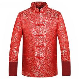 Costume de soie rouge en Ligne-Rouge Veste En Soie Hommes Automne Dragon Cheongsam Tops Plus La Taille 4XL Vêtements Chinois Traditionnels Tang Costume De Mariage Veste 2019