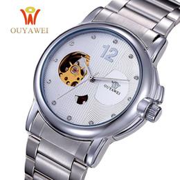 Ouyawei relógios automático de aço inoxidável on-line-OUYAWEI Assista Homens automáticas esqueleto de pulso mecânicos Moda Casual Assista Stainless Steel Relógio Masculino