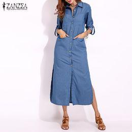 b971f3f015 ZANZEA 2019 Women's Sundress Plus Size Denim Dress Shirt Dresses Spring  Button Maxi Vestido Female Split Lapel Party Robe Femme