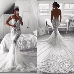 trumpet made Promo Codes - 2019 Vintage Full Lace Mermaid Wedding Dresses Sexy Sheer V Neck Illusion Button Back Court Train Tulle Wedding Dress Bridal Gowns Custom