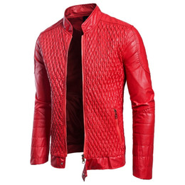 pu fabric code Coupons - Luxury PU leather fabric new men's leather features popular mesh shape Autumn new European and American European code jacket large size leat