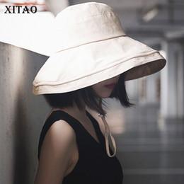 cappello invernale della corea Sconti [XITAO] Corea Fashion New Women 2018 Inverno Solido Colore Aduit Skuliies Femminile Cappello Del Pescatore con Grande Gronda Skullies LYH1924
