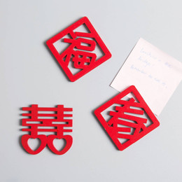 etiqueta chinesa da parede do casamento Desconto 20 pcs Estilo Chinês Geladeira Adesivos Magnéticos Adesivos Nova Bênção Xi Fu Chun Palavra Festa de Casamento Ano Novo Decoração Da Parede