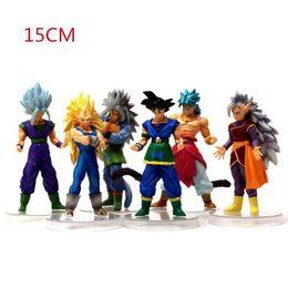 Anime Dragon Ball Action Figure Filho Goku Super Saiyajin Figuras de Ação PVC Brinquedos Dragon Ball z 6 pcs Set 15 cm Para As Crianças Presente de natal de